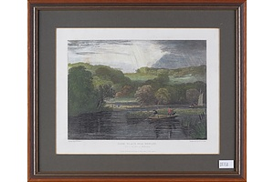 Two Antique Hand Coloured Engravings 'Park Place Near Henly'and 'Streatly'