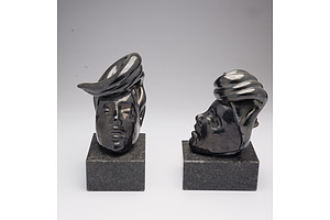 Pair Ceramic Bookends on Polished Granite Base