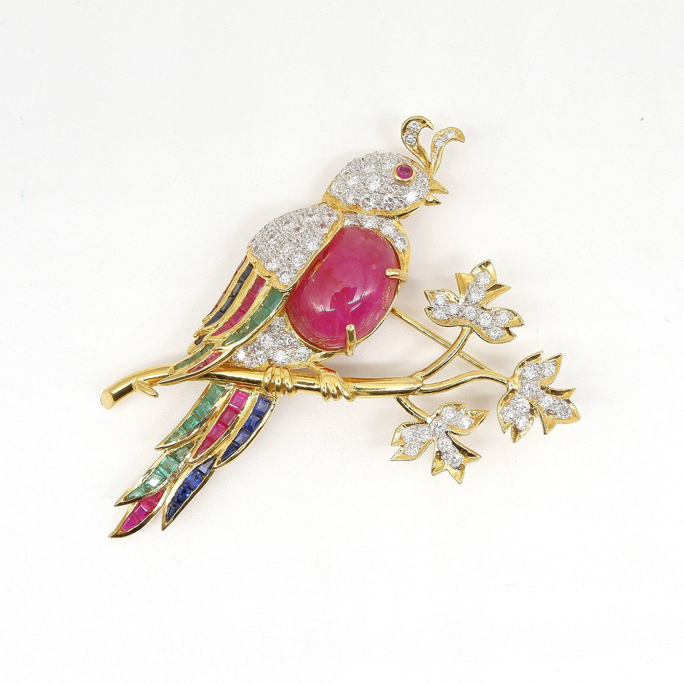 'Superb 18ct Yellow Gold Bird Brooch with Diamonds, Rubies, Emeralds and Sapphires'