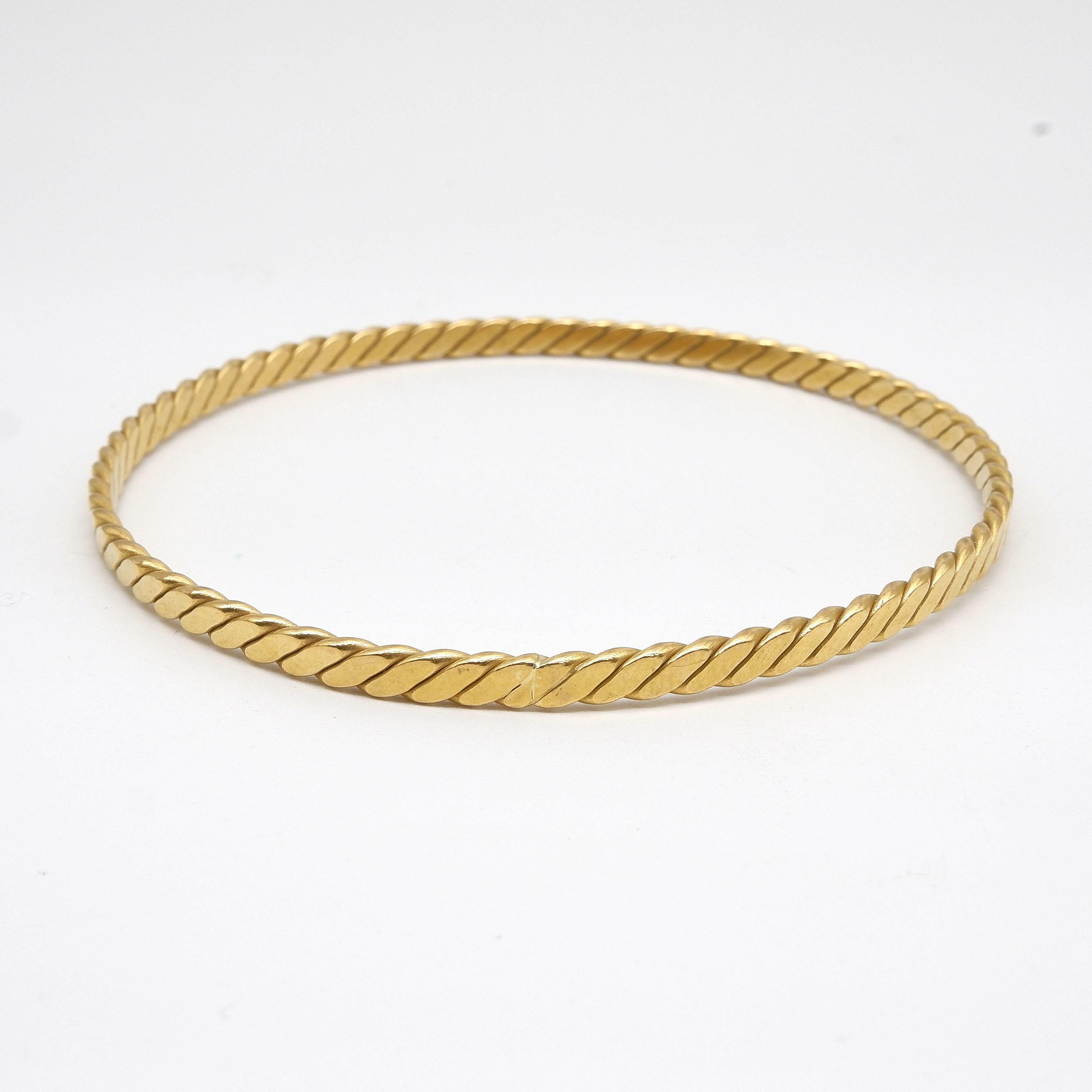 '18ct Yellow Gold Twisted Bangle, 21.1g'