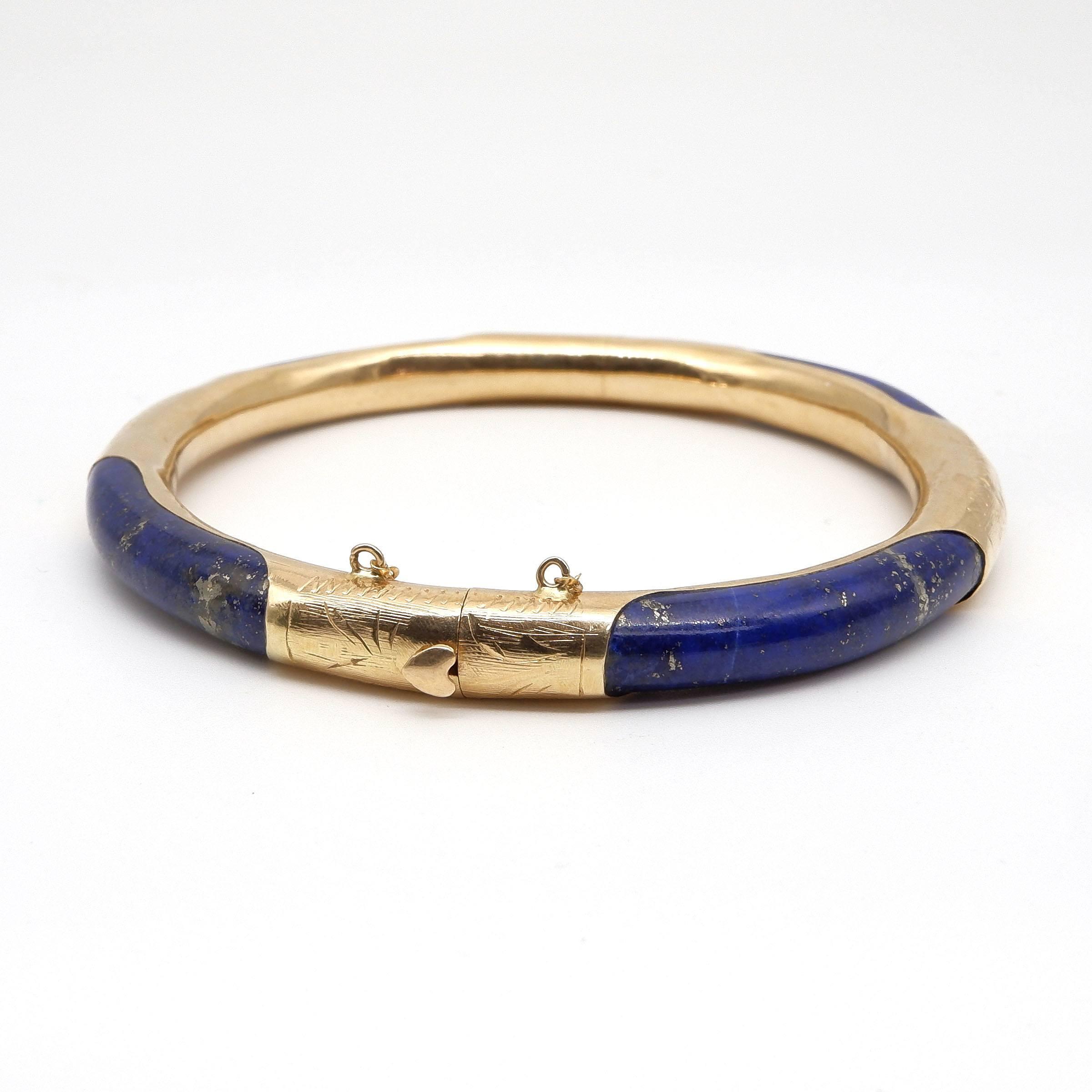 'Chinese 14ct Gold and Lapis Lazuli Bangle'