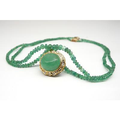 Impressive Gold and Diamond Set 50ct Emerald Cabochon Pendant on an Emerald Beaded Necklace