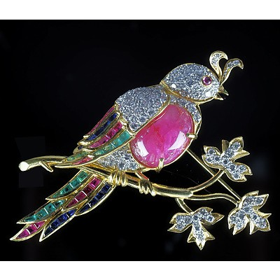 Magnificent 18ct Yellow Gold Bird Brooch with Diamonds, Rubies, Emeralds and Sapphires