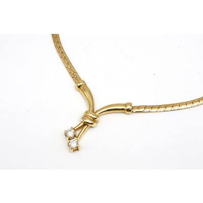 18ct Yellow Gold Necklet Snake Chain with Centre Drop with Two Round Brilliant Cut Diamonds