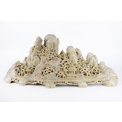 Massive Chinese Carved Soapstone Mountain, 20th Century, Length 72cm