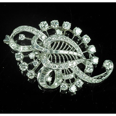 Superb Platinum and Diamond Floral Spray Brooch, Total Calculated Diamond Weight 6.00ct