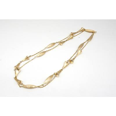 14ct Yellow Gold Chain with Inserted Link Alternating with Bell and Marquise Shaped Hollow Links, 30.9g