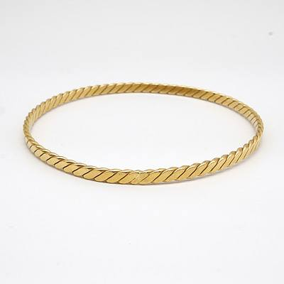 18ct Yellow Gold Twisted Bangle, 21.1g