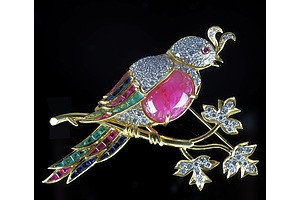 Superb 18ct Yellow Gold Bird Brooch with Diamonds, Rubies, Emeralds and Sapphires