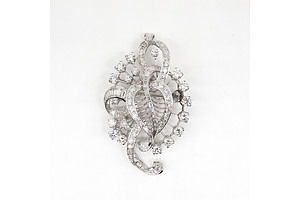 Fantastic Platinum and Diamond Floral Spray Brooch, Total Calculated Diamond Weight 6.00ct