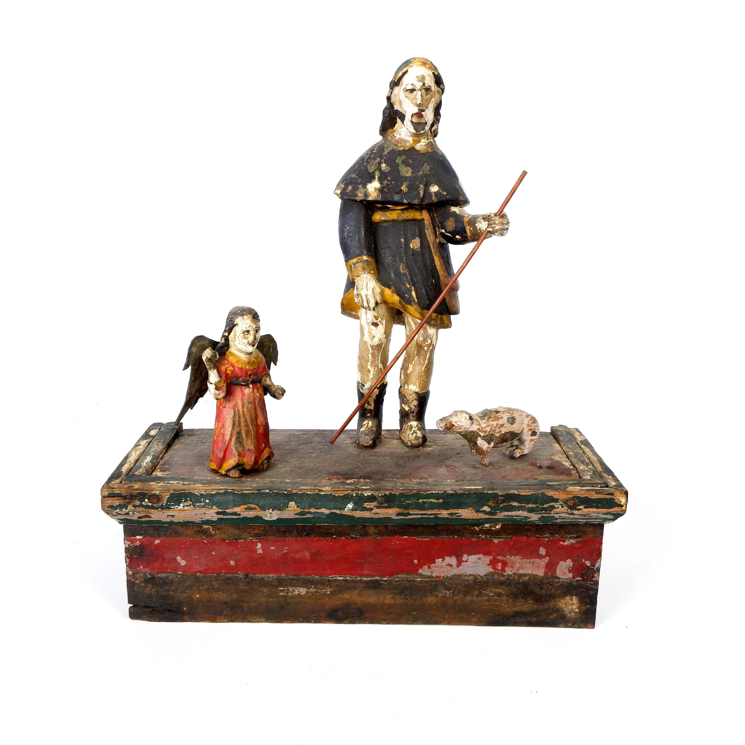 'Antique Philippino Hand Carved and Painted Santos Figure of Saint Roch on his Pilgrimage Accompanied by an Angel and a Dog, Late 19th to Early 20th Century'