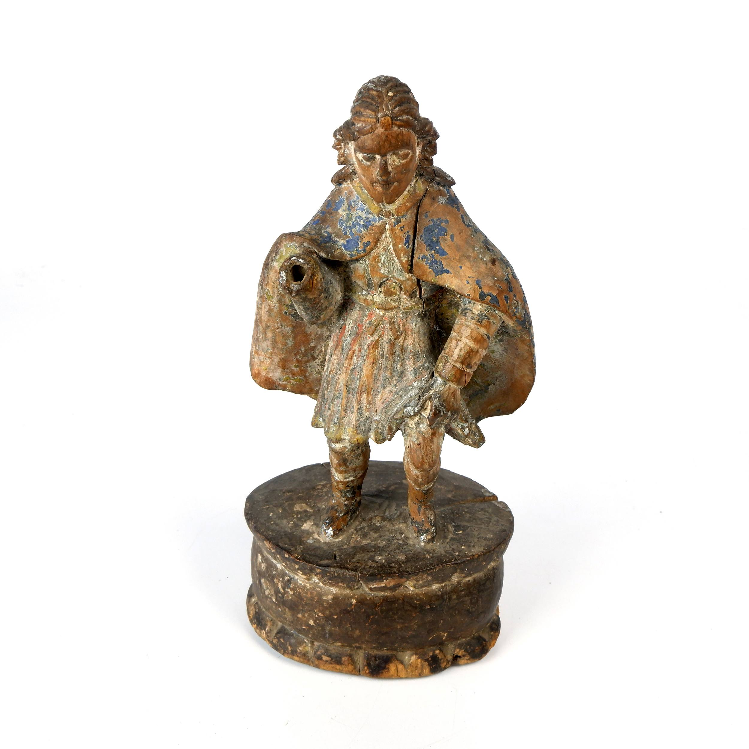 'Antique Philippino Hand Carved and Painted Santos Figure of Saint Roch Pointing to a Lesion on his Thigh, Late 19th to Early 20th Century'
