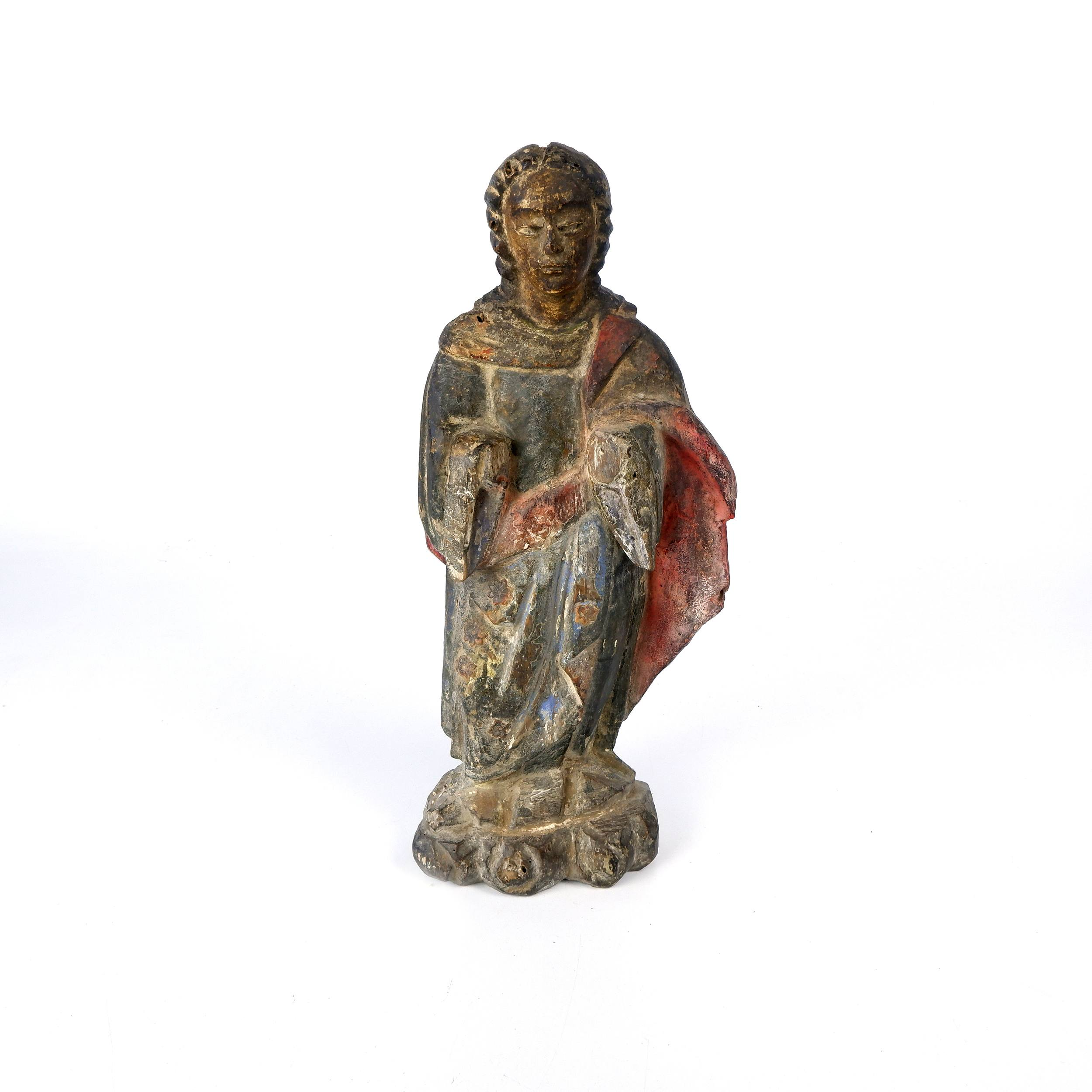 'Antique Philippino Hand Carved and Painted Santos Figure of the Virgin Mary, Late 19th to Early 20th Century'