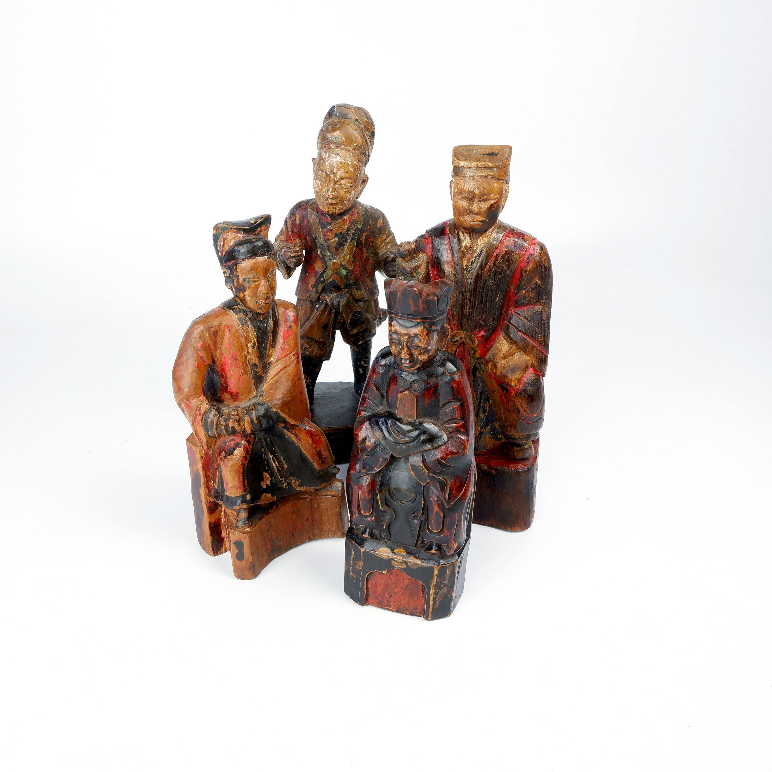 'Four Antique Chinese Hand Carved and Painted Kitchen Gods, Late 19th Century'