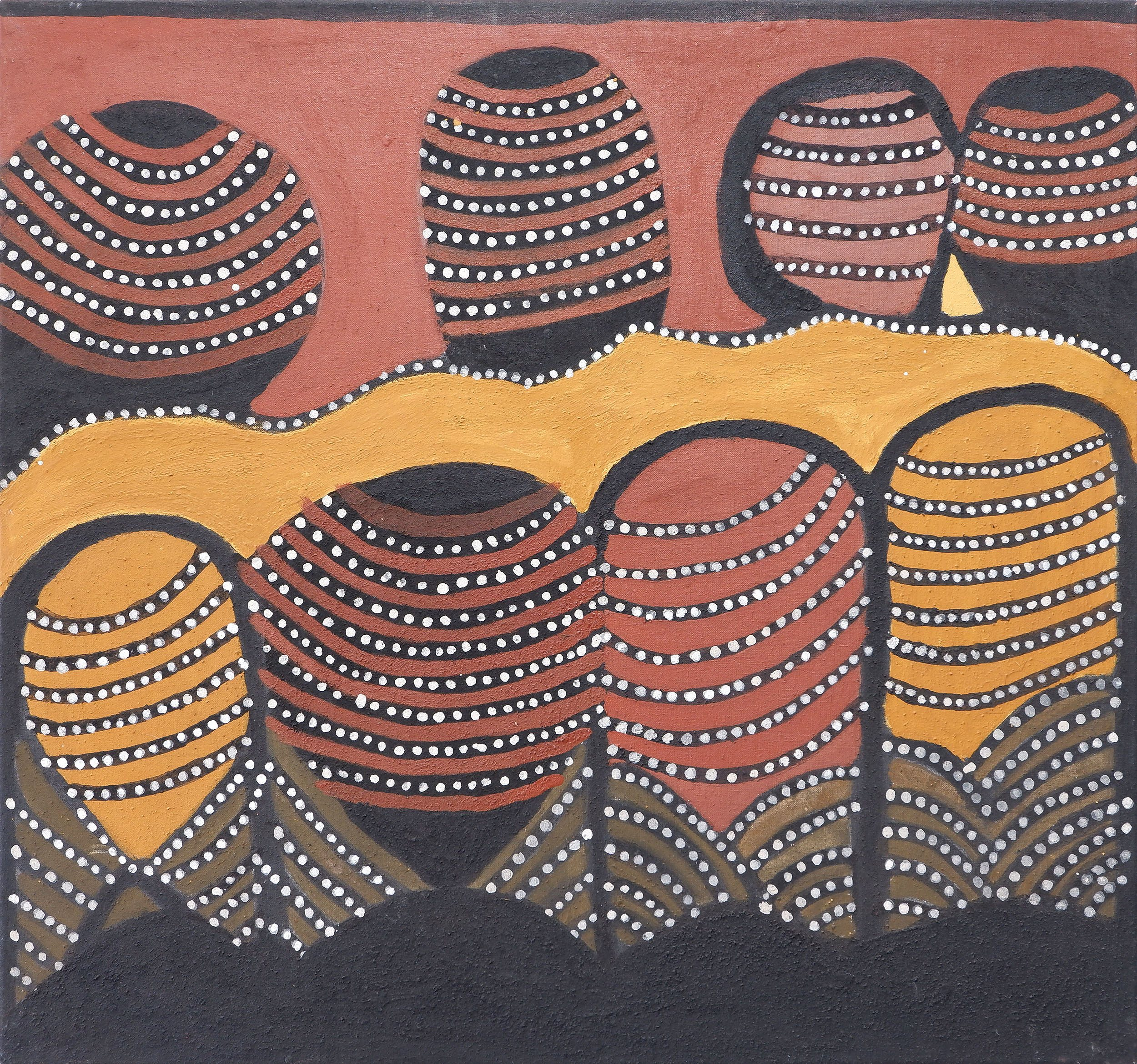 'Jack Britten (c1921-2002), Joalingi (Hann Springs) 1999, natural ochres on canvas'