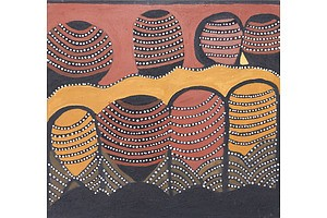 Jack Britten (c1921-2002), Joalingi (Hann Springs) 1999, Natural Ochres on Canvas