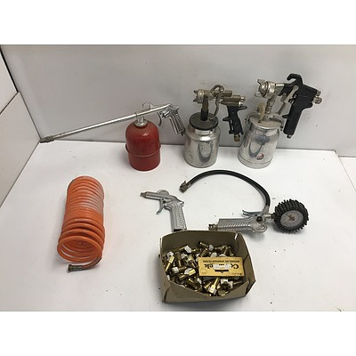 Three Spray Guns and Other Air Powered Tools