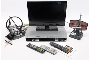 GVA 15.6Inch FHD LED LCD TV and Panasonic VHS Video and DVD Recorder/Player