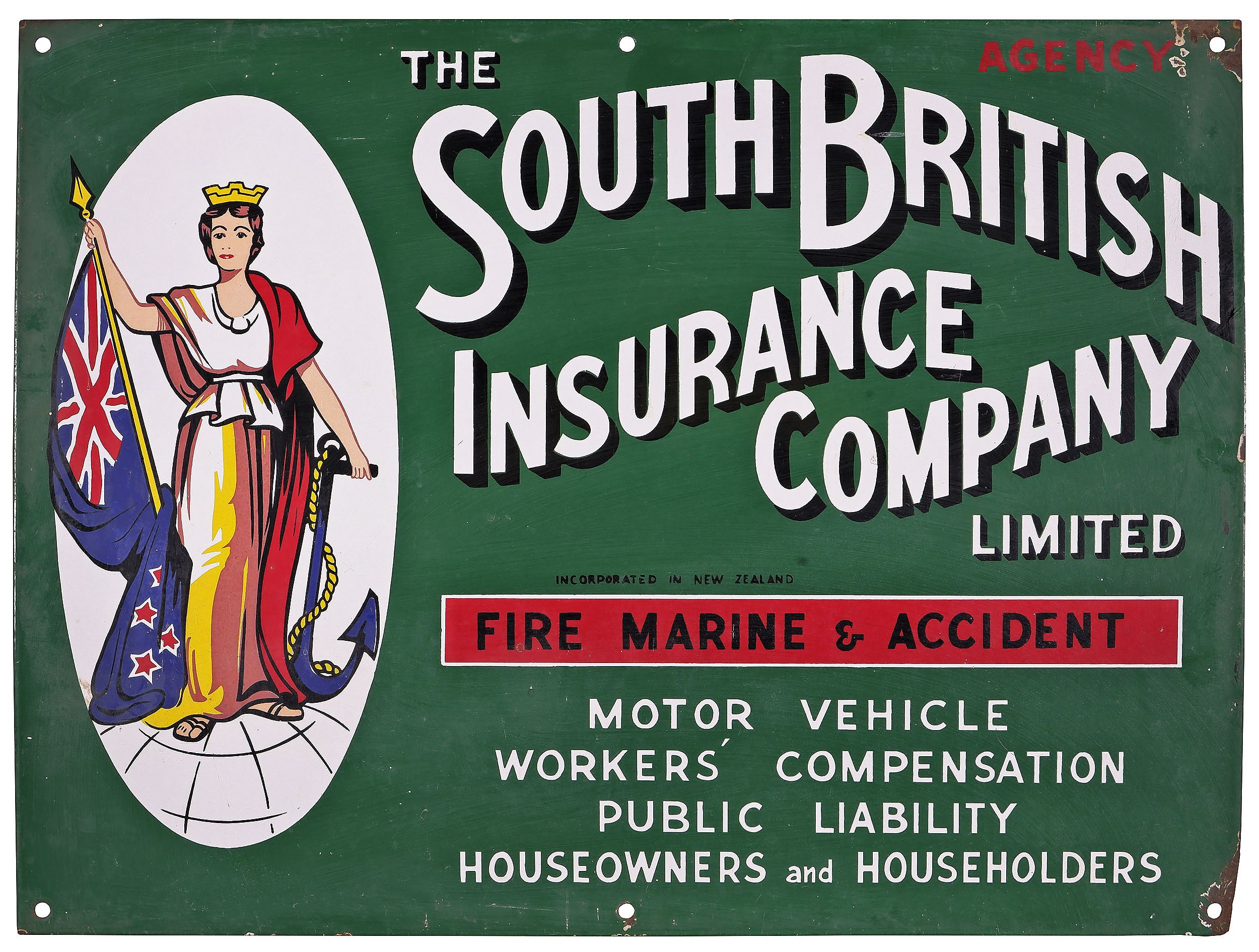 'Genuine The South British Insurance Company Enamel Advertising Sign'