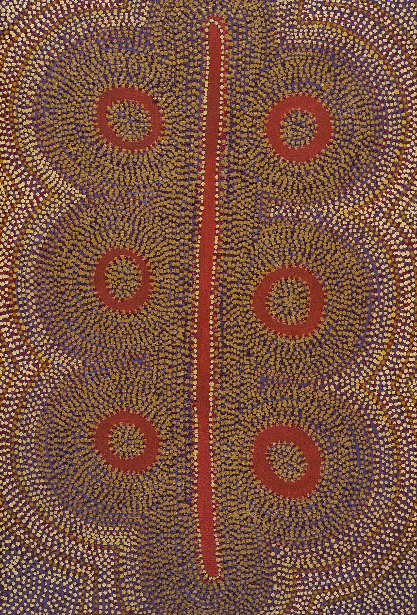 'Nan Nangala (born c1950, Kukatja language group), Untitled, synthetic polymer paint on canvas'