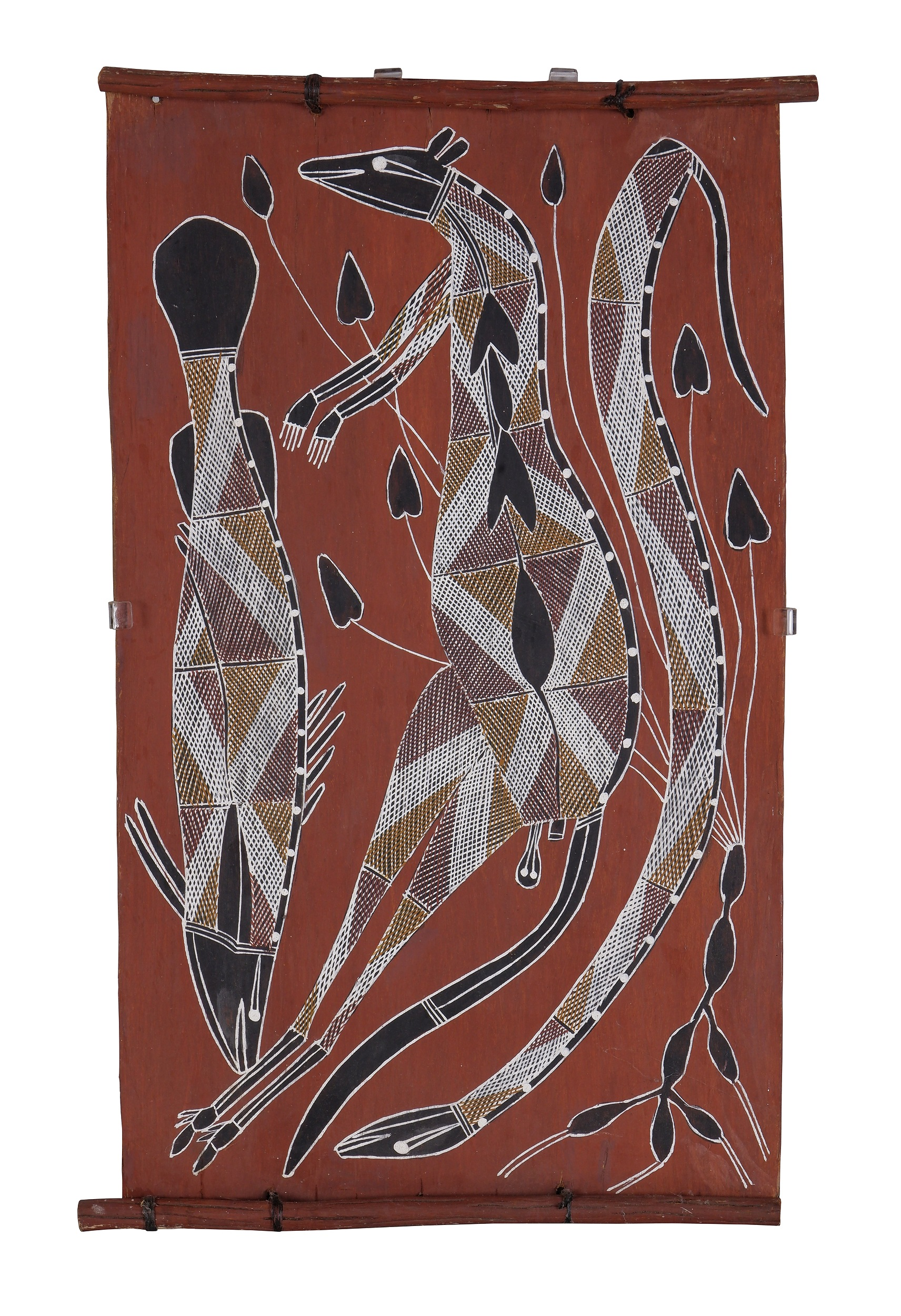 'Audrey Nadjowh (20th Century, Kunwinjku language group), Water Python, Barramundi, Black Rock Wallaby, Earth Pigments on Bark'