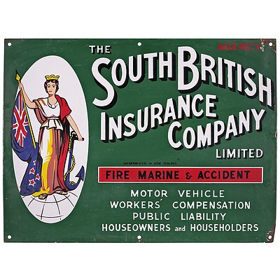 Genuine The South British Insurance Company Enamel Advertising Sign