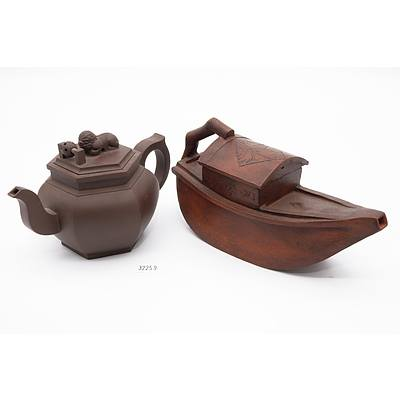 Two Chinese Yixing Pottery Teapots Including Boat Shaped
