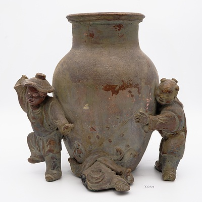Antique Chinese Stoneware 'Boys' Vase, 19th Century or Earlier