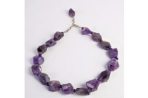 Natural Amethyst and Bead Necklace