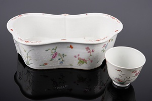 Antique Chinese Famille Rose Planter and a Wine Cup, Both with Studio Marks, Late Qing