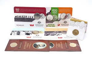 Five Carded Australian 20c and 25c Coins from the 100 Years of Anzac Series, Two Terra Australis Uncirculated $1 Coins and 2016 Australian Uncirculated $1 Coin