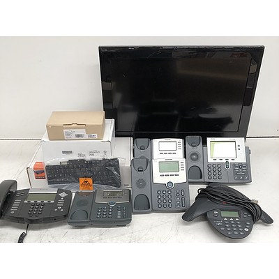 Bulk Lot of Assorted IT & Office Equipment - Replacement Laptop Keyboards, Office Phones & TVs