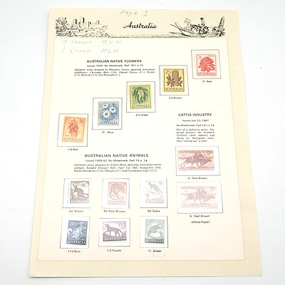 Australian Pre Decimal Stamps, Native Flowers, Native Animals and Cattle Industry