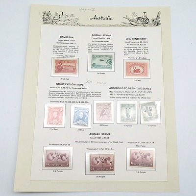 Eleven Australian Pre Decimal Stamps, Including 1927 Canberra 1 1/2 red, 1932 Kookaburra 6d Brown and More