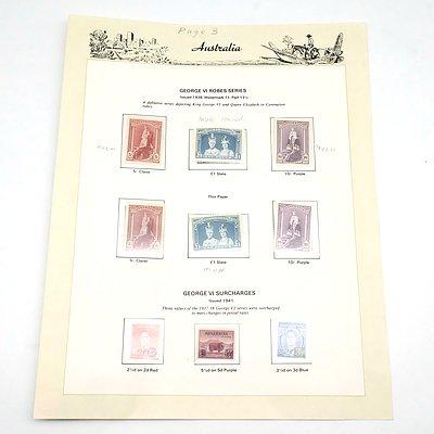 Australian Pre Decimal Stamps, George VI Robes Series and George VI Surcharges