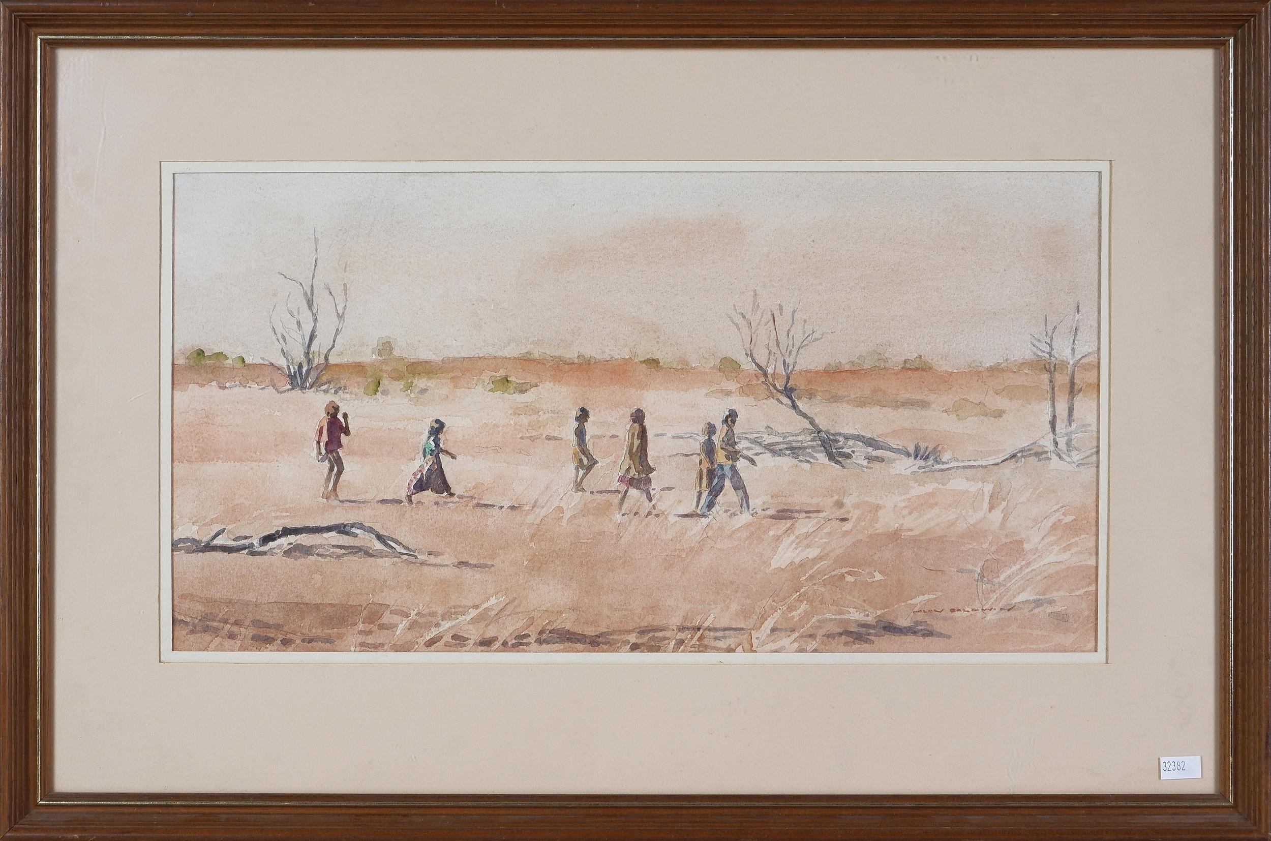 'Helen Baldwin (1912-2016), To Dashwood Creek, Children From Mount Bungara in Search of Bush Tucker (Luritja Tribe), Watercolour'