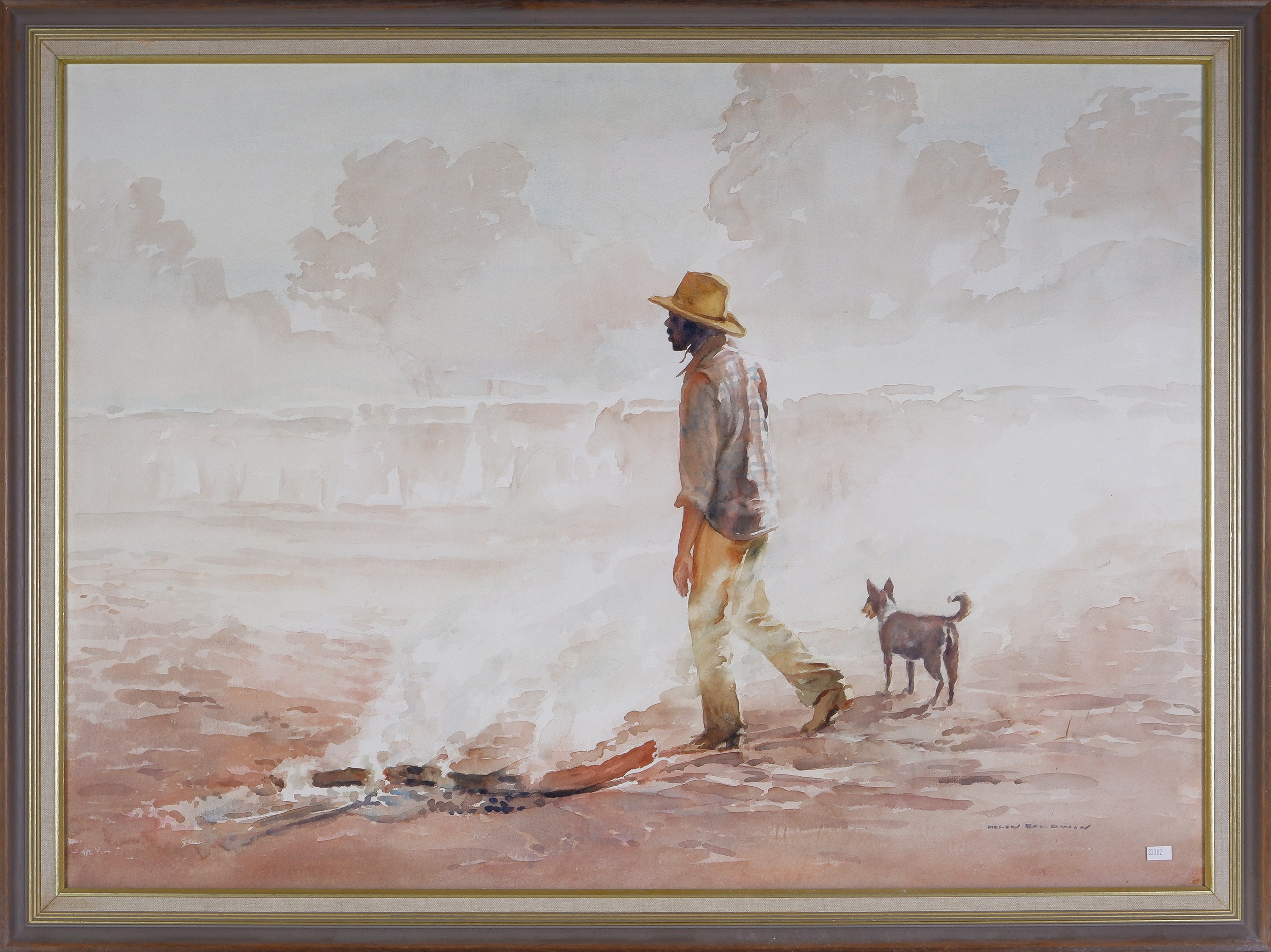 'Helen Baldwin (1912-2016), End of a Day, Napperby Station, N.T., Watercolour'