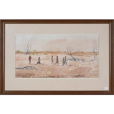 Helen Baldwin (1912-2016), To Dashwood Creek, Children From Mount Bungara in Search of Bush Tucker (Luritja Tribe), Watercolour