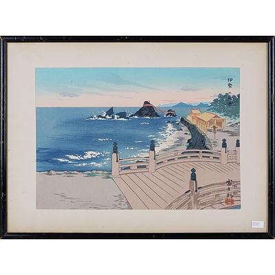 Tokuriki Tomikichiro (Japanese 1902-2000) Complete Set of The Eight Views of Japan, Woodblocks Circa 1950s