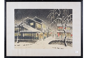 Eiichi Kotozuka (Japanese 1906-1979) Snow in Kiyamachi, Woodblock Circa 1950s