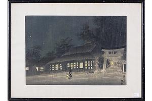 Eiichi Kotozuka (Japanese 1906-1979) Night Rain in Rakuhoku, Woodblock Circa 1950s