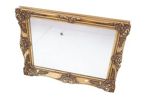 Antique Style Wall Mirror in Giltwood and Gesso Frame