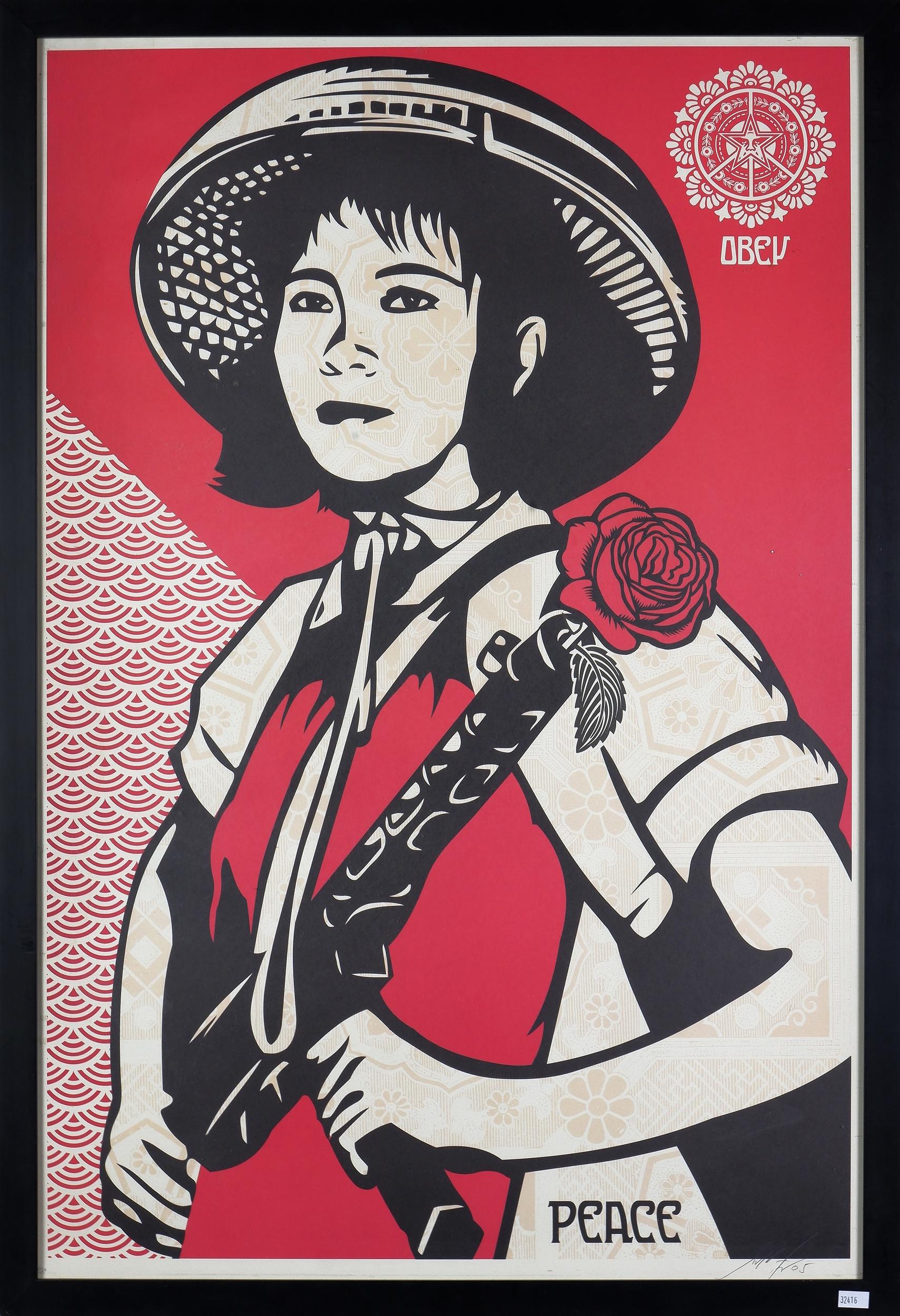 'Shepard Fairey (born 1970, American), Obey - Peace, Screenprint'