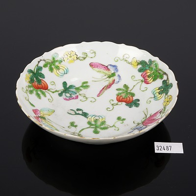 Chinese Famille Rose 'Butterfly and Melon' Petal Lobed Dish, Jiaqing Sealmark, 19th Century
