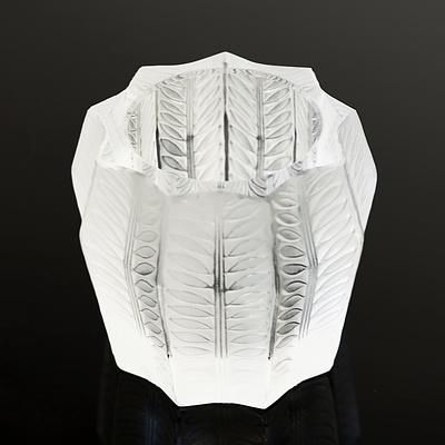 Signed Lalique Glass Candleholder
