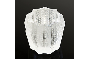 Signed Lalique Glass Candleholder