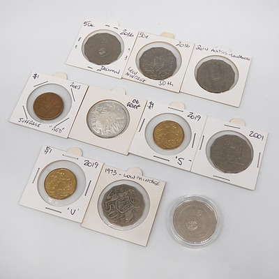 Collection of Australian Coins, Including 2019 U and S $1 Coins, 2006 Ex Proof Set 50c Coin and More
