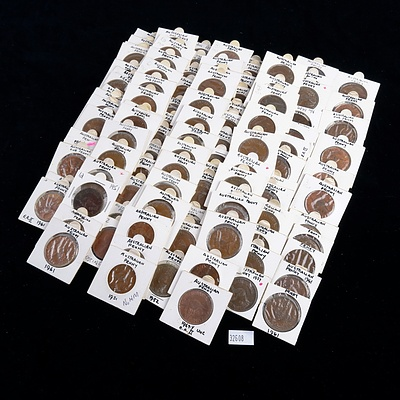 108 Australian Pennies, Various Dates from 1950-1964, Including 1952 IND IMP Omission