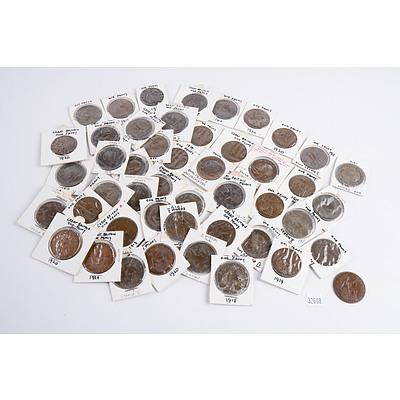 45 George V British Pennies, Various Dates 1912-1920