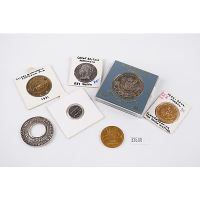 2013 Replica Holey Dollar and Replica NSW 15 Pence, 1981 Numismatic Symposium Token, Queen Mother Medal and More